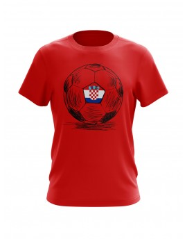 Fan T-shirts with Ball sketch - red