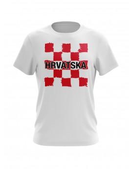 Navijačka majica s šahovnicom i natpisom Hrvatska - bijela