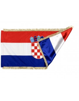 Flag of Croatia - 300x150cm - silk -  with Gold Fringe - double