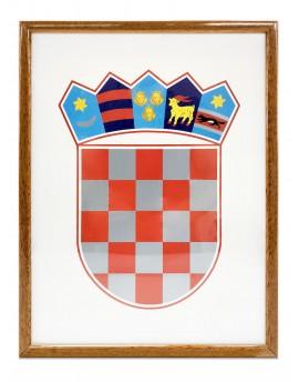 Grb Republike Hrvatske - 21x30cm - s drvenim okvirom