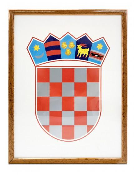 Grb Republike Hrvatske - 35x50cm - s drvenim okvirom