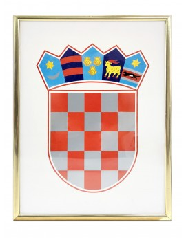 Coat of arms of Croatia - 35x50cm - with metal frame - gold