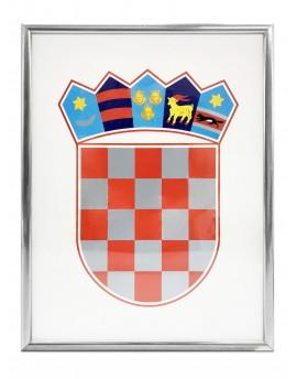 Grb Republike Hrvatske - 30x40cm - s metalnim okvirom - srebrno