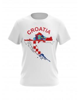 Navijačka majica s kartom Hrvatske - bijela