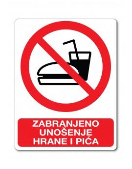 Naljepnica - zabranjeno unošenje hrane i pića