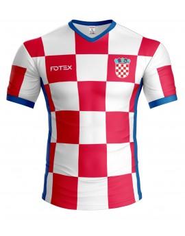 Hrvatski navijački dres s imenom i brojem - plavi detalji